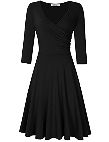 Leadingstar Robe Mini Femme Automne Hiver Manches Longues Pull Moulante Col V Tunique Casual Noir 40