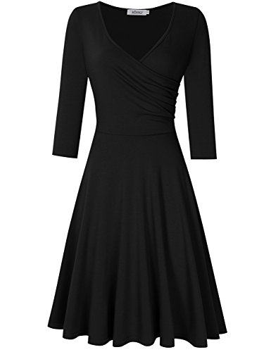 Leadingstar Damen Sommer A-Line V-Ausschnitt Kurzarm Casual Vintage Elegante Kleider (M, 3/4 Hülse Schwarz) (Kleid V-ausschnitt)
