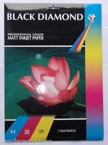 20 feuilles de papier A3 180g / m² Black Diamond mat / mat