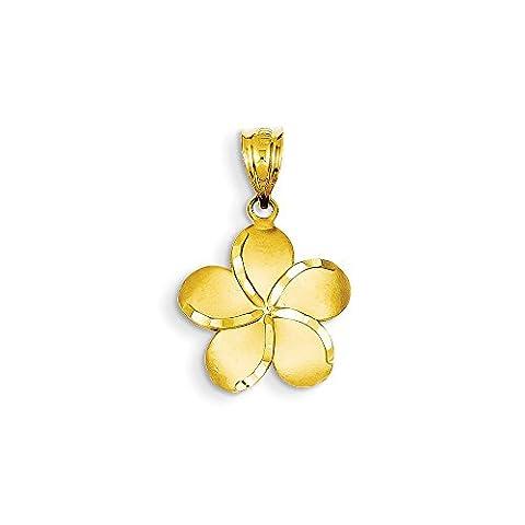 Yellow-gold 14k Diamond-cut Plumeria Pendant