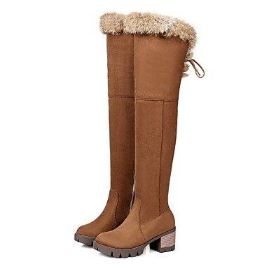 RTRY Scarpe Da Donna In Pelle Nubuck Inverno Moda Stivali Stivali Chunky Tallone Punta Tonda Thigh-High Scarponi Per Abbigliamento Casual Nero Marrone US5.5 / EU36 / UK3.5 / CN35