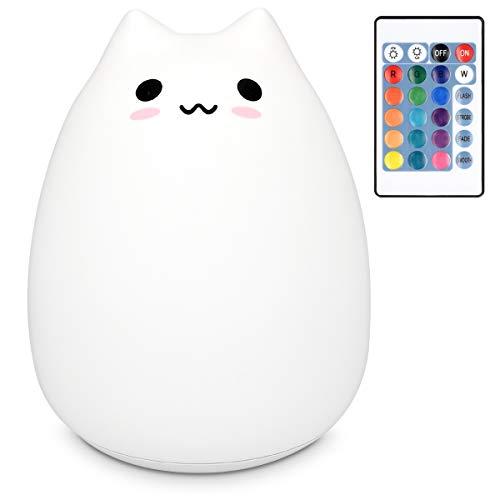 Navaris Lampada LED luce notturna - Lampada per bambini con cavo Micro USB - Lucina con cambio 15 colori telecomando sensore touch - gatto XXL bianco