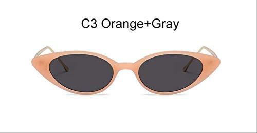 BRGHNPF Gläser Frauen Kätzchen Augen Sonnenbrille Damen Retro Rot Rosa Nette Brille Retro Cat Eye BrilleC3 Orange Grau -