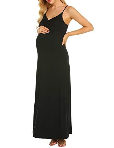 MAXMODA Maternity Kleid, Damen Umstandsmode Sommerkleid Festliches Umstandskleid Schwangeren Kleider Mutterschaftskleid Nachthemd Schwangerschaft Stillkleider Schwarz - 4
