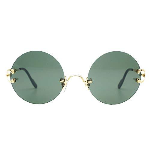 LKVNHP Neue Hochwertige Retro Runde Sonnenbrille Männer Sonnenbrille Rahmen Für Frauen Hochwertige Trendy Shades Oculos De Sol Carter GläserGrauObjektiv