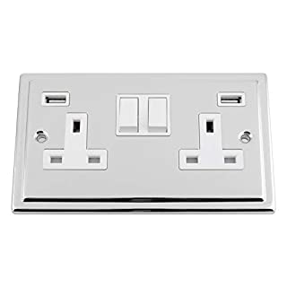 TRIMLINE Polished Chrome USB Socket 2 Gang White Insert Plastic Rocker Switch 3.1