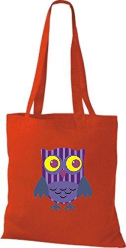 ShirtInStyle Jute Stoffbeutel Bunte Eule niedliche Tragetasche Owl Retro diverse Farbe, rot