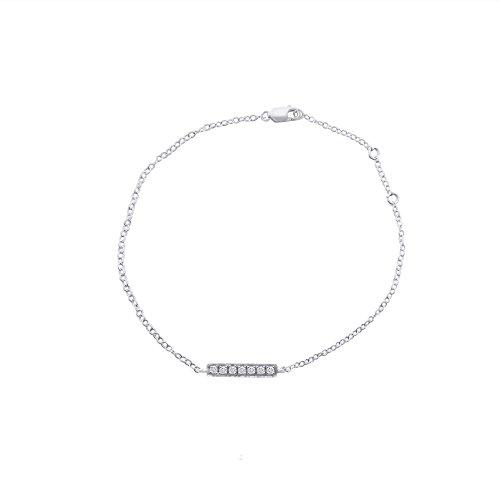 Or Blanc 9 ct Bracelet Diamant en forme de Bâton, 0.17 Ct Diamant, GH-SI, 1.13 grammes.