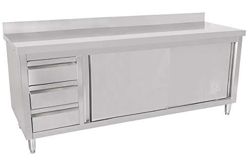 Beeketal 'BAS200-70L' Gastro Edelstahl Küchenschrank mit 3 Schubladen (links), 2 Rolltüren und 4 verstellbaren Standfüßen, Küchen Arbeitsplatte mit 10 cm Aufkantung - (L/B/H) ca. 2000 x 700 x 950 mm