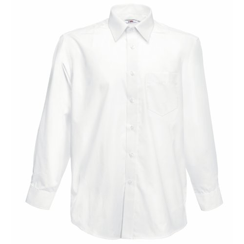 Fruit of the Loom Herren Long Sleeve Poplin Shirt Freizeithemd, Weiß (White), X-Large -