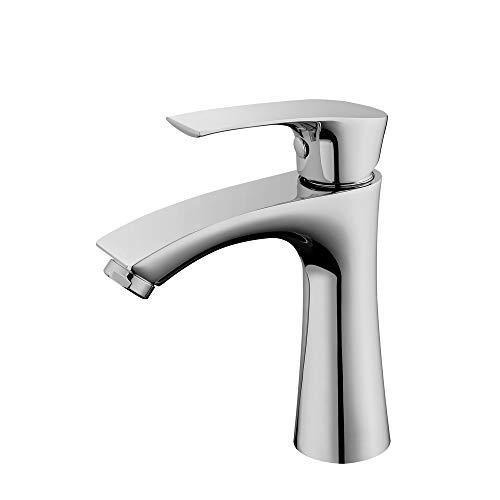 AiHom Badarmatur für Kaltwasser Armatur Bad Wasserhahn Waschtischarmatur chrom Mischbatterie Einhebelmischer f. Waschtisch/Waschbecken