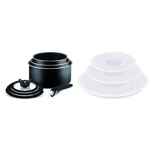 Tefal Ingenio Essential Non-Stick Saucepan Set, 7 Pieces + Ingenio Plastic Lids - Set of 3