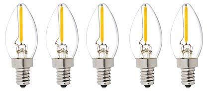 C7 Kerze LED Glühbirne E14 Edison Lampe ersetzt 10 Watt, 0.5W, 60 Lumen, 2700K warmweiß, LED Kerzen Filament Fadenlampe, 220V AC, für Hängelampe Wandleuchte Pendelleuchte 5er Pack (0.5)