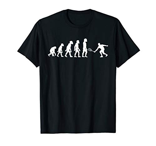 Funny Human Squash Player Evolution Ball Racket Tennis T-Shirt