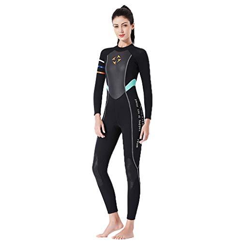 AIni Damen Neoprenanzug,Sexy Sport 3mm Tauchanzug Ganzkörper Tauchanzug Surf Schwimmoverall Wetsuit Schwimmen Surfanzug Surfen Tauchen (L,Schwarz)