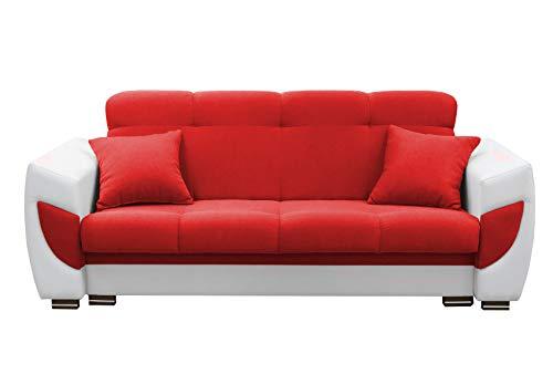 mb-moebel Modernes Sofa Schlafsofa Kippsofa mit Schlaffunktion Klappsofa Bettfunktion mit Bettkasten Couchgarnitur Couch Sofagarnitur 3er Amelia (Rot)