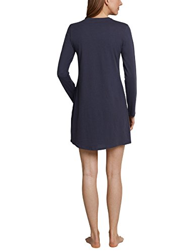 Schiesser Damen Nachthemd Sleepshirt 1/1 Arm, 90cm Blau (Blaugrau 808)