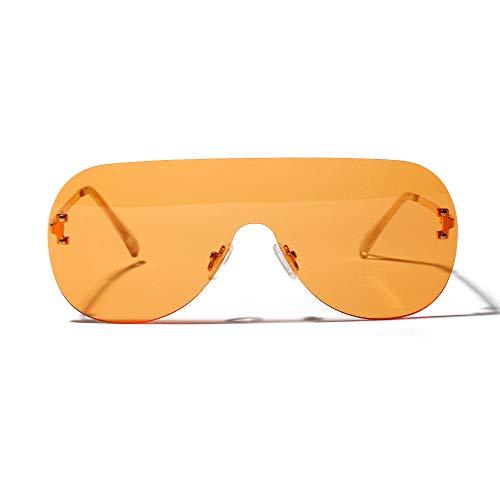 Schutz Driving Eyewear Herren SonnenbrillenBig Frame Sonnenbrillen One Piece Large Frame Sonnenbrillen gespleißt randlose Brillen personalisierte Mode neue bigOrange