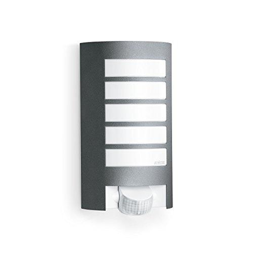 Steinel Außenleuchte L 12 anthrazit, 180° Bewegungsmelder, 10 m Reichweite, robuste Alu-Blende, E27, Max.60 W, Wandlampe, 27.2 x 15.5 x 10.8 cm, - Garage Licht Sensor