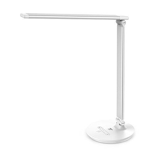 TaoTronics Lampada da Tavolo, Lampada LED da Scrivania Dimmerabile, Controllo Touch, Luce Elegante per Ufficio, Funzione Memoria, 3 modalità Colore e 7 Livelli di Luminosità, 7W, Bianco
