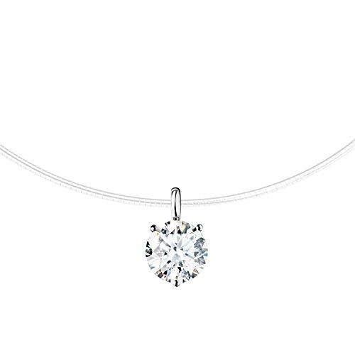 MYA art Damen Halskette Collier Kette Halsband Nylon Nylonband mit einem weißem Stein Steinchen Anhänger Brautschmuck 925 Sterling Silber MYASIKET-61