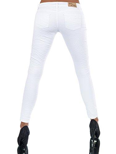 N250 Damen Jeans Hose 7/8 Hüfthose Damenjeans Hüftjeans Röhrenjeans Röhrenhose Weiß