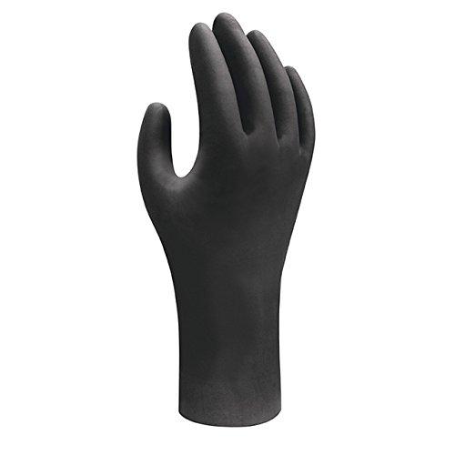 100x Showa Nitril Einweg-Handschuhe | Geeignet für Lebensmittelkontakt | Puderfrei Chemikalienbeständig Antistatisch Lebensmittelecht Unsteril | Tattoo Medizin Werkstatt | Schwarz | 7 (S)