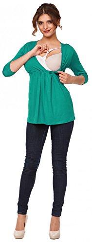 Happy Mama Femme. Top de maternité. T-shirt d'allaitement effet cache-coeur. 372p Sarcelle