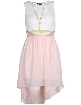 Mädchen ärmelloses Taille Band asymmetrisch Chiffon-Kleid mit Halskette