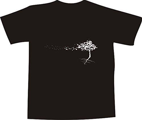 T-Shirt E223 Schönes T-Shirt mit farbigem Brustaufdruck - Logo / Grafik - minimalistisches Motiv - Baum mit wehenden Blüten Schwarz