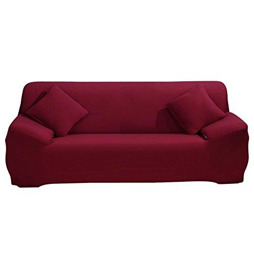 ele ELEOPTION Sofa Überwürfe Sofabezug Stretch Elastische Sofahusse Sofa Abdeckung in Verschiedene Größe und Farbe (Weinrot, 3 Sitzer für Sofalänge 170-220cm)