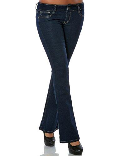 Damen Bootcut Jeans Hose Schlaghose (weitere Farben) No 15758, Farbe:Blau, Größe:M / 38 (Dunkle Hose Jeans)