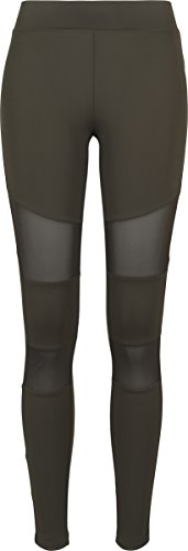 Urban Classics Ladies Tech Mesh Leggings, Grün (Darkolive 00551), L