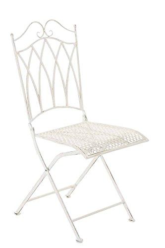SIKALO Eisen Bistro Gartenstuhl klappbar, Klapp-Stuhl für den Außenbereich in Antik-Weiß,...