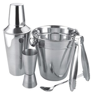 Apollo Stainless Steel Cocktail Gift Set with Shaker, Jigger, Spoon,
