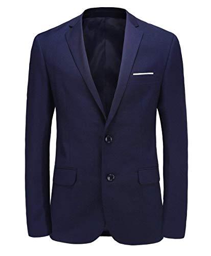 Herren Blazer Two Button Fit Anzug Slim Jacke Side Vent Wesentlich Sport Mantel 10 Farben Slim Fit Hochzeitsanzug Smoking Nner (Color : Marine, Size : 40-Brust-78cm)