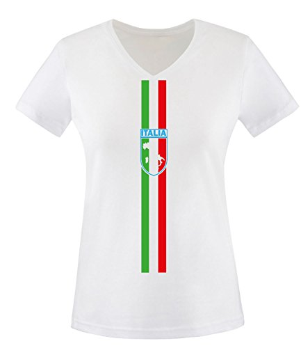 Luckja EM 2016 Trikot Italien Fanshirt EM04 Damen V-Neck T-Shirt
