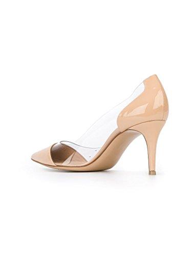 EDEFS - Scarpe col Tacco Donna - Tacco Gattino - Trasparente Scarpe Beige