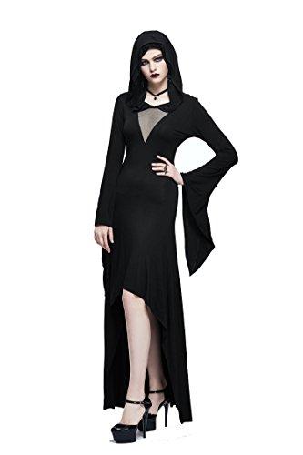 Gothic Damen Schwarz Sexy Mode A Linie Kleid Steampunk Stretch ...