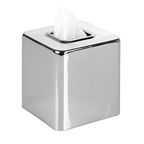 Chrom Tissue Box Cover (Seba5 Home Design Moderne quadratische Metallpapier Gesicht Tissue Box Cover Halter für Badezimmer-Waschtischplatten, Schlafzimmer Kommoden, Nachttische, Schreibtische und Tische - Chrom)
