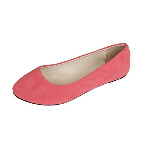 Stiefel Damen Flachschuhe Einzel Schuhe Frauen Sandalen Casual Halbschuhe Comfort Sohle Freizeitschuh Wildleder,Rosa Rot,EU 40 -