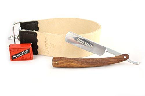 RAZZOOR 3-teiliges Rasiermesser Set Edelholz Palisander- Exklusives Rasiermesser Set mit Carbonstahl-Klinge 5/8' - Streichriemen aus echtem Büffelleder, Streichriemenpaste aus Solingen