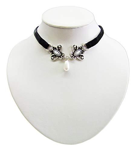 band mit antikem Ornament und Perle - Schöne Kette zu Dirndl, Trachten, Gothik und Burlesque Kostümen ()