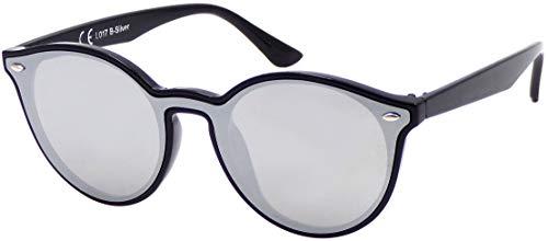 La Optica B.L.M. UV400 CAT 3 CE Damen Frauen Sonnenbrille Rund Round Monoglas - Einzelpack Glänzend Schwarz (Gläser: Silber verspiegelt)