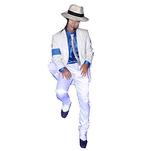 Michael Jackson Kostüm Weiße - Michael Jackson Kostüm Kind Erwachsene Michael Jackson Cosplay Streifen Glatte Verbrecher Anzug Jacke + Pants + Shirt + Hut + Tie (Weiß L: H 170-175cm)
