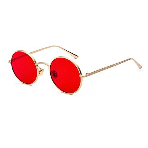 Inlefen Runde Metallrahmen Gläser Vintage Kreis Sonnenbrille für Männer und Frauen,Gold Rot,57