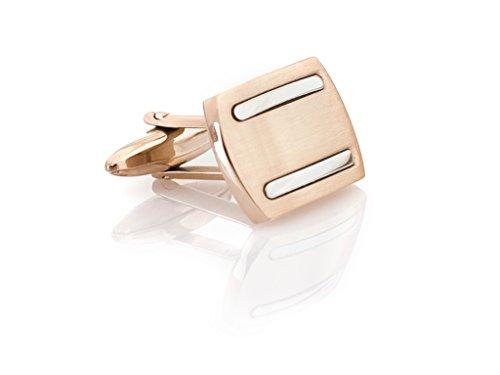MR|CO Manschettenknöpfe Rotgold und Silber Streifen aus Edelstahl inkl. hochwertiger Geschenkbox EMN120
