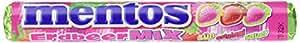 Mentos Erdbeer-Mix Dragees | Geschmack Erdbeeren original süß sauer | Karton mit 40 Rollen Bonbons | Verkaufsdisplay Kaubonbons