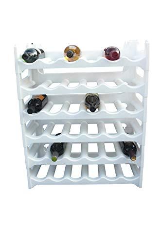 Weinregal Weiß für 36 Flaschen Flaschenregal Wein Wasser Regal Flaschenständer -