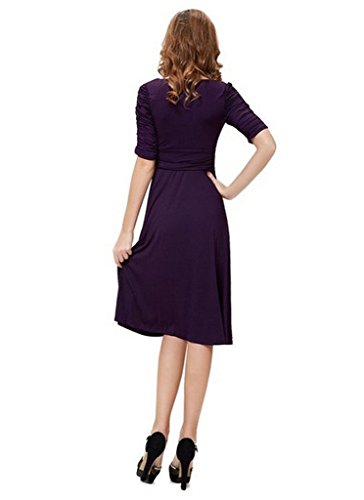 Minetom Damen Elegant Sommerkleid Kurzärmel VAusschnitt Business Faltenrock  Rockabilly Cocktailkleid Violett